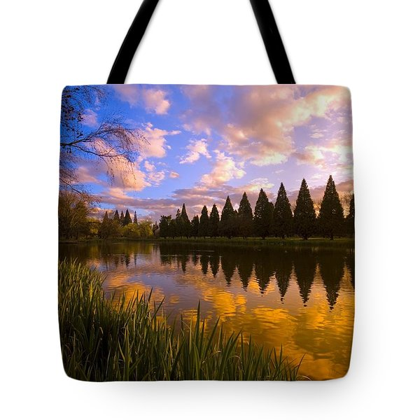 Sunset Reflection On A Pond, Portland Tote Bag by Craig Tuttle