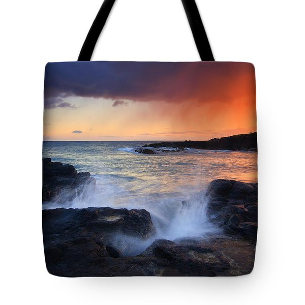 Sunset Storm Passing Tote Bag by Mike  Dawson