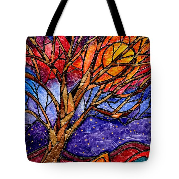 Sunset Tree Abstract Tote Bag by Elaine Hodges