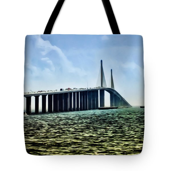 Sunshine Skyway Bridge - Tampa Bay Tote Bag by Bill Cannon