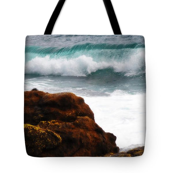 Surf Breaking Near Coast Tote Bag by Phill Petrovic