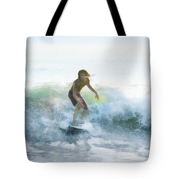 Surfer On A Morning Wave Tote Bag by Francesa Miller