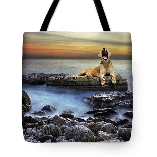 Surreal Lioness Tote Bag by Carlos Caetano