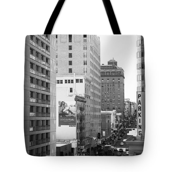 Sutter Street West View . Black and White Photograph 7D7506 Tote Bag by Wingsdomain Art and Photography