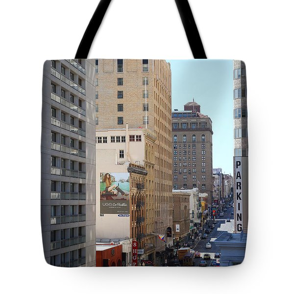Sutter Street West View Tote Bag by Wingsdomain Art and Photography
