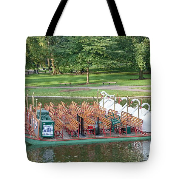 Swan Boat In Boston Public Garden Tote Bag by Clarence Holmes