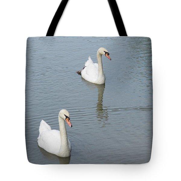 Swans Drifting Along Tote Bag by Corinne Elizabeth Cowherd
