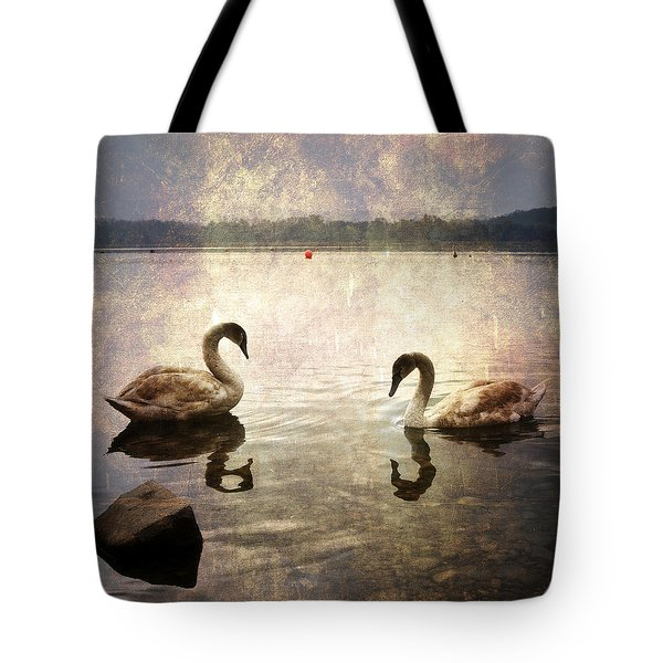 swans on Lake Varese in Italy Tote Bag by Joana Kruse