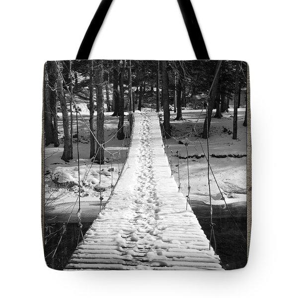 Swinging Cable Foot Bridge Tote Bag by John Stephens
