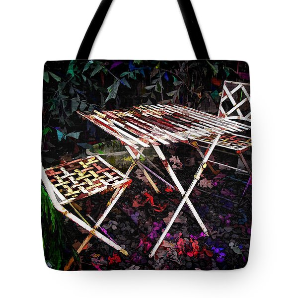 Table and Chairs Tote Bag by Joan  Minchak