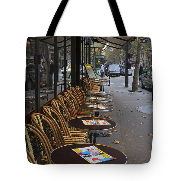 Tables Outside A Paris Bistro On An Autumn Day Tote Bag by Louise Heusinkveld