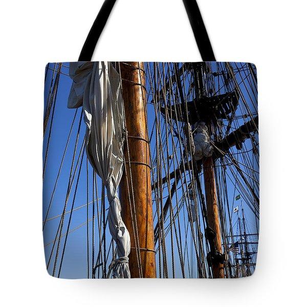 Tall ship rigging Lady Washington Tote Bag by Garry Gay