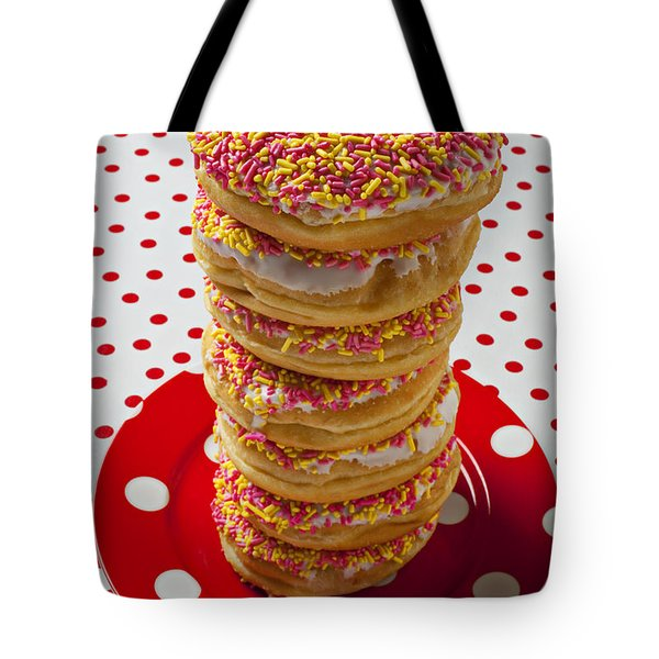 Tall Stack Of Donuts Tote Bag by Garry Gay