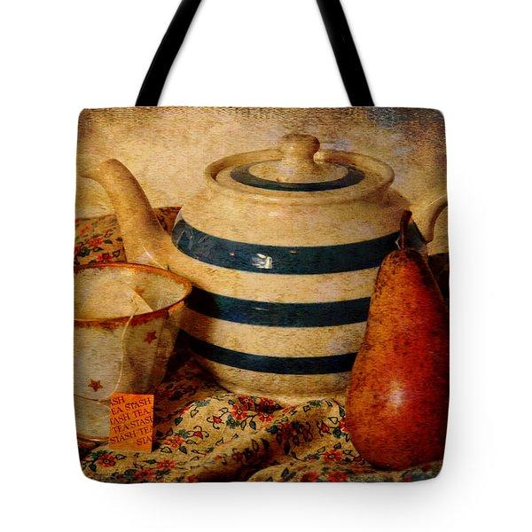 Tea And Pear Tote Bag by Toni Hopper