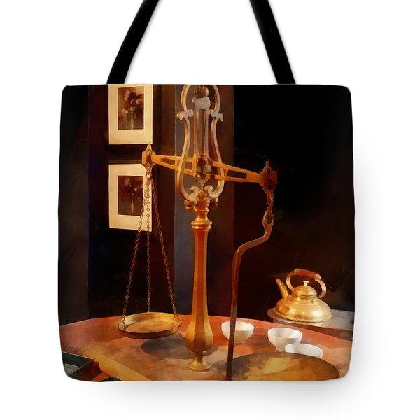 Tea Scale Tote Bag by Susan Savad