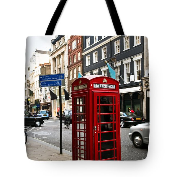 Telephone Box In London Tote Bag by Elena Elisseeva
