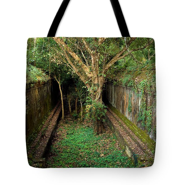 Temple Overgrown By The Jungle Tote Bag by Artur Bogacki