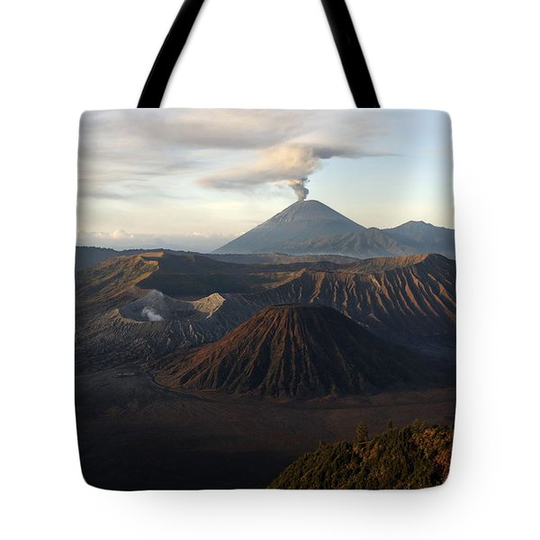 Tengger Caldera With Erupting Mount Tote Bag by Martin Rietze