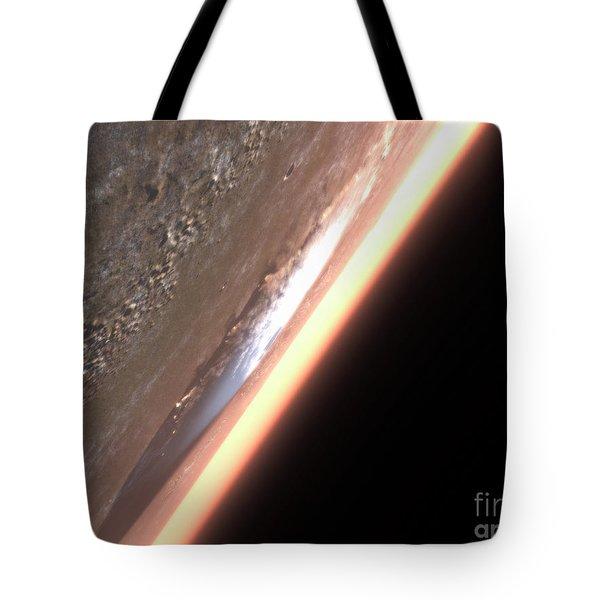 Terragen Render Of Olympus Mons On Mars Tote Bag by Rhys Taylor
