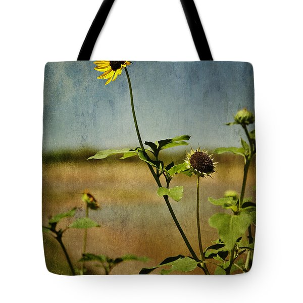 Textured Sunflower Tote Bag by Melany Sarafis