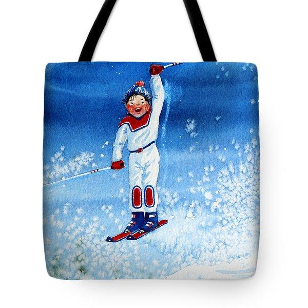 The Aerial Skier 15 Tote Bag by Hanne Lore Koehler