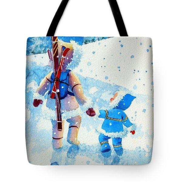 The Aerial Skier - 2 Tote Bag by Hanne Lore Koehler