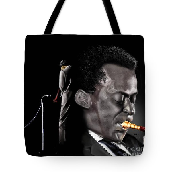 The Back And The Affront Of Miles Davis Tote Bag by Reggie Duffie