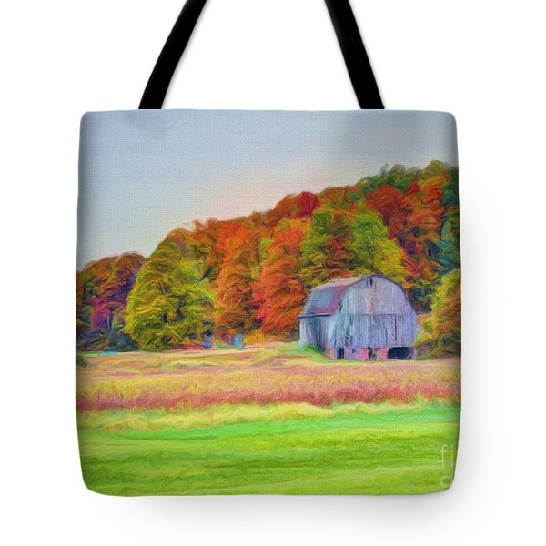The Barn in Autumn Tote Bag by Michael Garyet