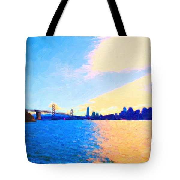 The Bay Bridge and The San Francisco Skyline Tote Bag by Wingsdomain Art and Photography