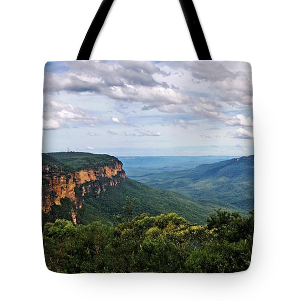 The Blue Mountains - Panoramic View Tote Bag by Kaye Menner