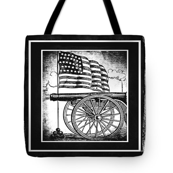 The Bombs Bursting In Air Bw Tote Bag by Angelina Vick