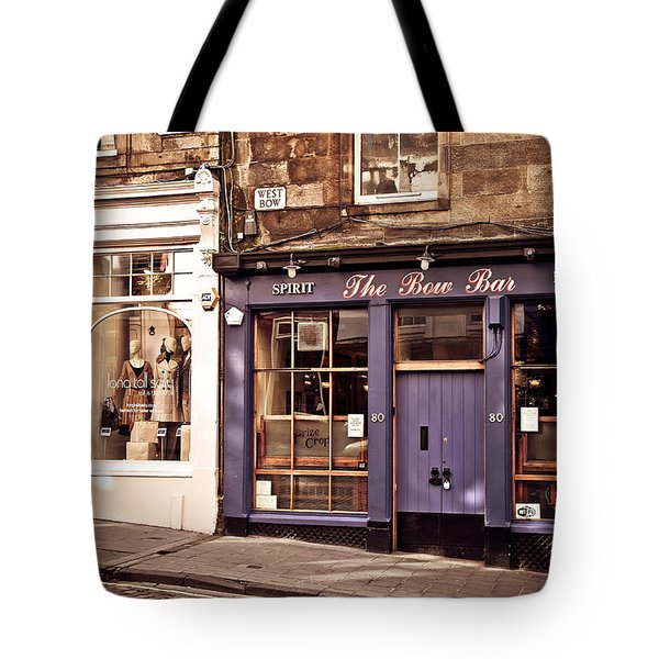 The Bow Bar. Edinburgh. Scotland Tote Bag by Jenny Rainbow