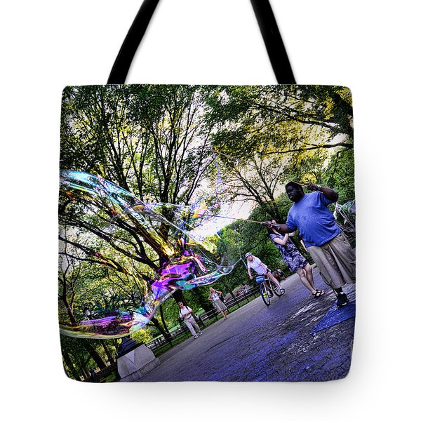 The Bubble Man Of Central Park Tote Bag by Paul Ward