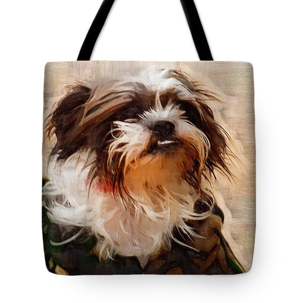 The Camo Makes The Dog Tote Bag by Kathy Clark
