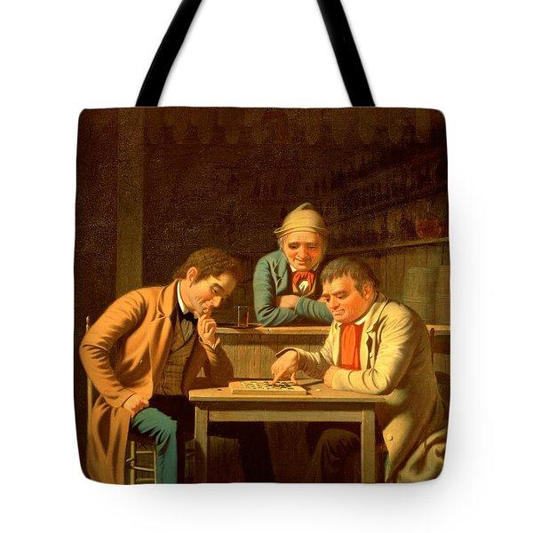 The Checker Players Tote Bag by George Caleb Bingham