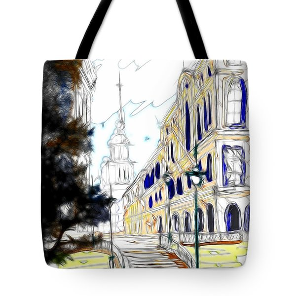 The Church In The Middle Of Town Tote Bag by Cheryl Young