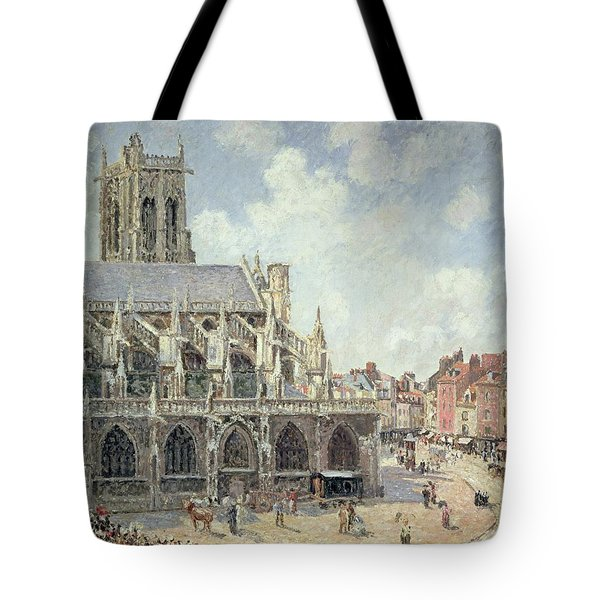 The Church Of Saint Jacques In Dieppe Tote Bag by Camille Pissarro
