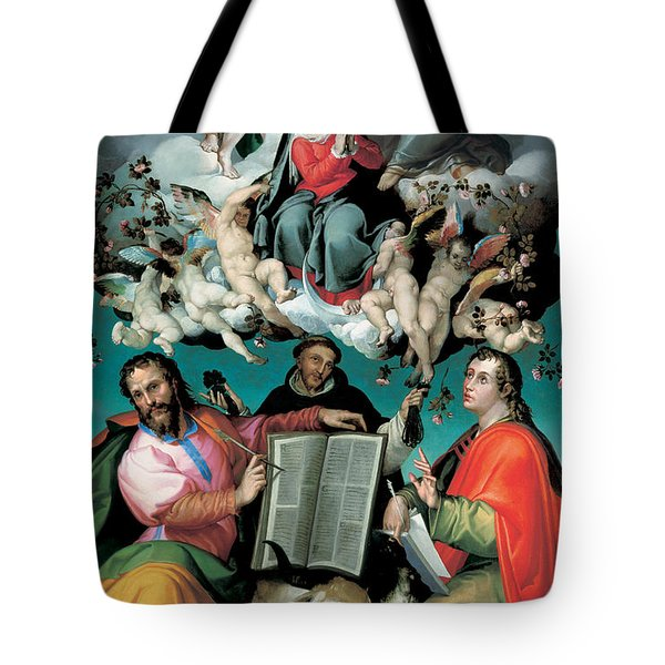 The Coronation Of The Virgin With Saints Luke Dominic And John The Evangelist Tote Bag by Bartolomeo Passarotti