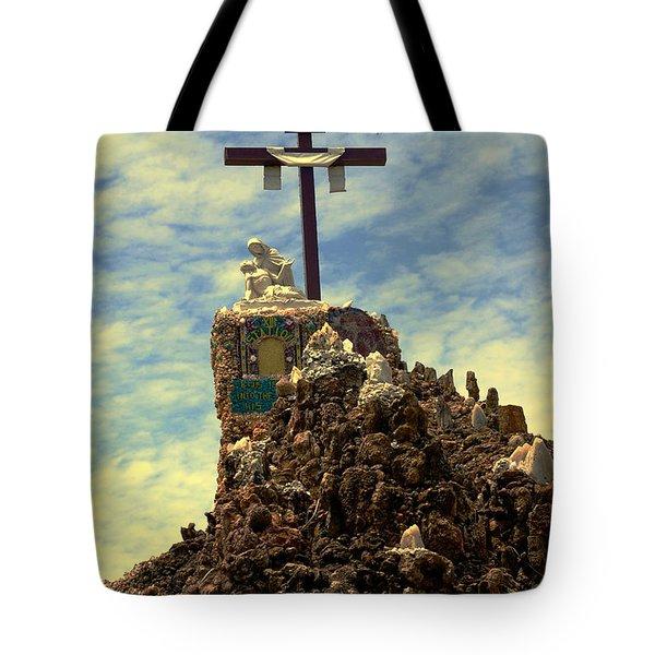 The Cross IIi In The Grotto In Iowa Tote Bag by Susanne Van Hulst
