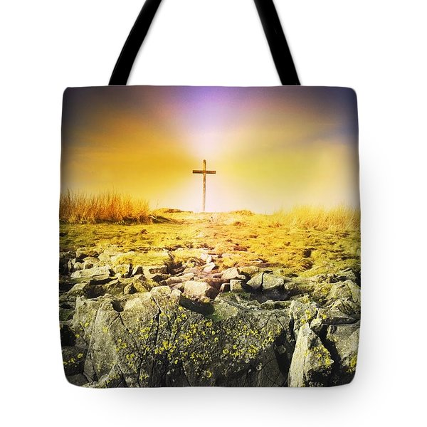 The Death Spot Of St. Cuthbert On Holy Tote Bag by John Short