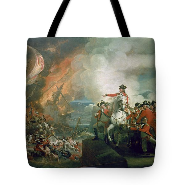 The Defeat Of The Floating Batteries At Gibraltar Tote Bag by John Singleton Copley