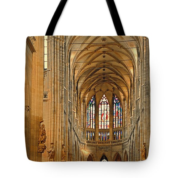 The enormous interior of St. Vitus Cathedral Prague Tote Bag by Christine Till