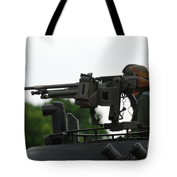 The Fn Mag Gun On The Turret Tote Bag by Luc De Jaeger