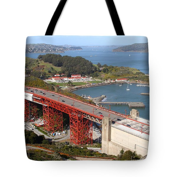 The Golden Gate Bridge North Side Overlooking Angel Island And Tiburon And Horseshoe Bay . 7d14540 Tote Bag by Wingsdomain Art and Photography