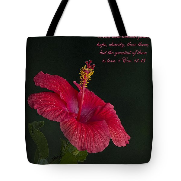 The Greatest Of These Is Love Tote Bag by Kathy Clark