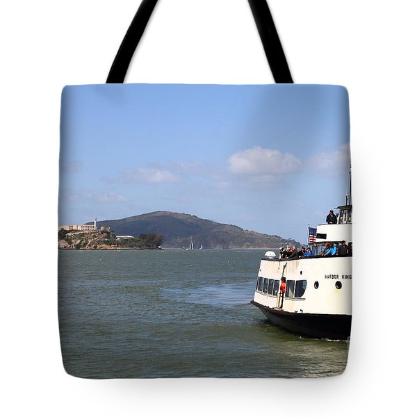 The Harbor King Ferry Boat On The San Francisco Bay With Alcatraz Island In The Distance . 7d14355 Tote Bag by Wingsdomain Art and Photography