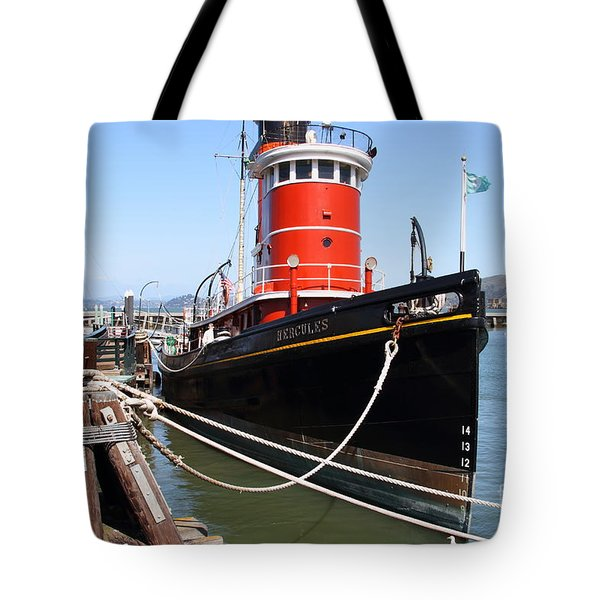 The Hercules . A 1907 Steam Tug Boat At The Hyde Street Pier In San Francisco California . 7d14137 Tote Bag by Wingsdomain Art and Photography