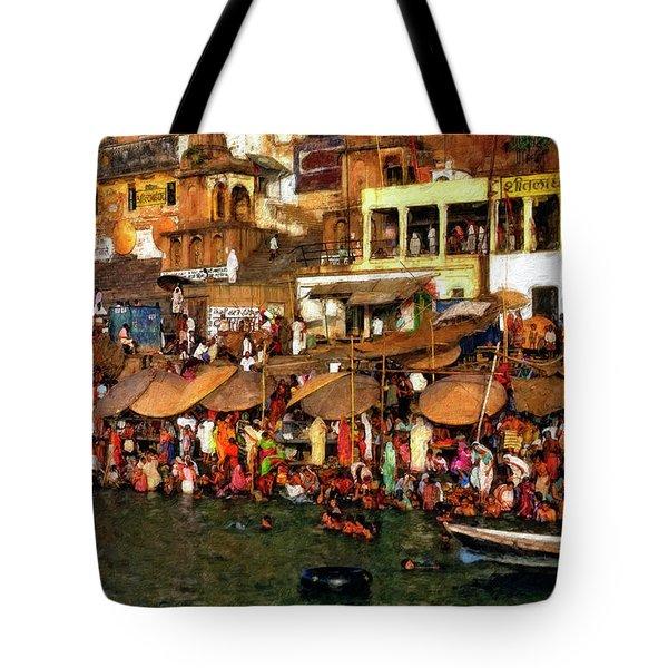 The Holy Ganges Impasto Tote Bag by Steve Harrington