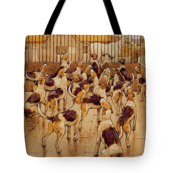 The Hounds Began Suddenly To Howl In Chorus  Tote Bag by Cecil Charles Windsor Aldin