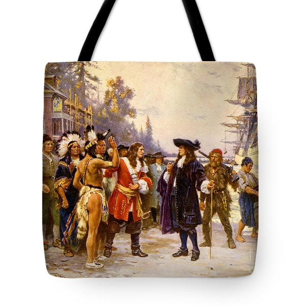 The Landing Of William Penn, 1682 Tote Bag by Photo Researchers
